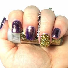 The Small Things.: My Nail Art My husband said this simple Mani looks like LSU colors.