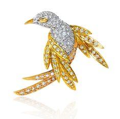 #Diamond #White #Rose #Yellow #Gold #Bird #Brooch #Pins #Jewellery