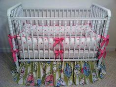 Pink and green bubble gum bird custom made nursery crib bedding https://www.facebook.com/poshpetitesboutique  #poshpetitesboutique