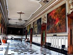 HISTORY ROOM INSIDE GOVERNOR'S PALACE - IT HOUSES BEAUTIFUL PAINTINGS THAT DEPICT THE HISTORY OF YUCATAN - MAIN SQUARE MERIDA YUCATAN