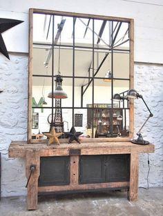Pour une ambiance industrielle, un effet verrière d'atelier sur un grand miroir