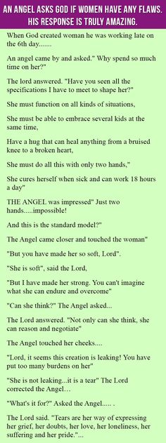 An Angel Asks God If Females Have Any kind of Problems. His Reaction Is Genuinely Remarkable. - Writical