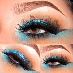blue eye shadow with brown