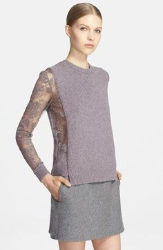 Valentino Lace Inset Wool & Cashmere Sweater   Nordstrom