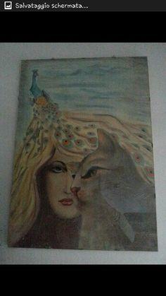 Donna gatto pavone in pastelli e gessetti