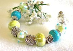 Chartreuse and Aqua Pandora Style Cuff Bracelet with by GirlieGals,