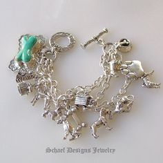 Schaef Designs Turquoise Dog Bone Westminster Dog Show sterling silver charm bracelet |  pet lovers jewelry | upscale collectible Southwestern, Native American, Equine, & turquoise jewelry gallery | Schaef Designs artisan handcrafted, southwestern & turquoise Jewelry | San Diego CA
