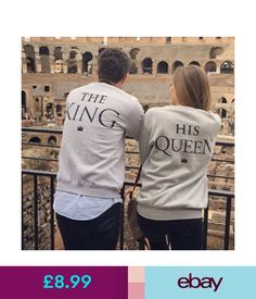 Hoodies & Sweats The King Or His Queen Print Couples Sweatshirts Warm Hoodies Sweats Long Sleeve #ebay #Fashion