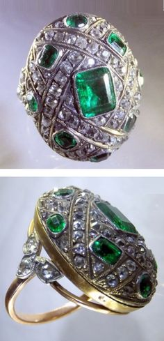 An antique gold, silver, diamond and emerald ring, probably French, circa 1890. Set to the centre with a rectangular emerald measuring 8.7 x 6.8mm, and further set with diamonds and table-cut emeralds, mounted in closed back gold and silver. #antique #ring
