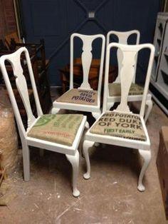 Up cycled coffee sack dining chair coffee sacks chair