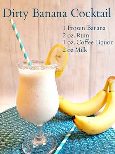 The Dirty Banana Cocktail! A creamy, frothy cocktail that is full of great banana flavor and perfect for poolside sipping. You can easily make this a Mocktail for the kids by replacing the alcohol with coffee or chocolate syrup. Beach Drinks, Party Drinks, Summer Drinks, Cocktail Drinks, Fun Drinks, Alcoholic Drinks, Beverages, Bacardi Drinks, Pina Colada