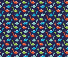 Dark night fantasy dinosaurs fabric by littlesmilemakers on Spoonflower - custom fabric