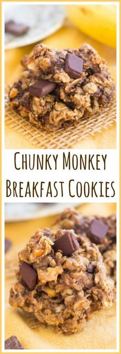 These Chunky Monkey Cookies are hearty and filling, but also a little indulgent. With peanut butter, bananas, oats, walnuts, and a bit of chocolate!
