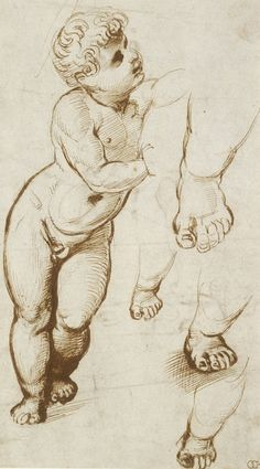 Page of Study of the Christ Child by RAFFAELLO Sanzio in the Web Gallery of Art, a searchable image collection and database of European painting, sculpture and architecture Body Drawing, Anatomy Drawing, Life Drawing, Figure Drawing, Drawing Sketches, Art Drawings, Drawing Faces, Drawing Tips, Amazing Drawings