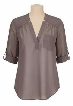 sleeve chiffon blouse with pocketmaurices offers a wide selection of women's clothing in sizes including jeans, tops, and dresses. Mode Glamour, Corsage, Fashion Outfits, Womens Fashion, Dress Patterns, Blouse Designs, Tunic Tops, Clothes For Women, How To Wear