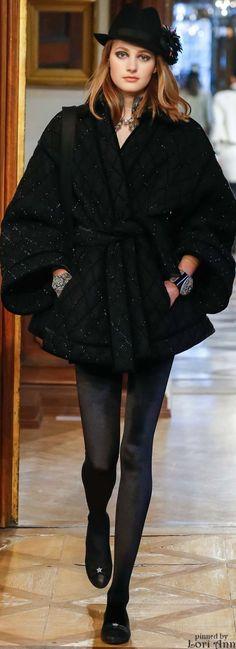 Chanel ~Black Wool Cape, Pre-Fall 2015 v