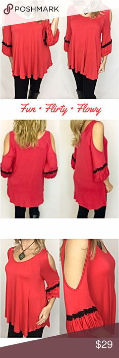 """Fun flirty flowy cold shoulder Tunic Top S/M M/L Be fun & flirty in this ever so comfortable poppy red & black crochet lace trim cold shoulder boho peasant tunic. This top is so easy to wear & has a very flowy, flattering fit. 95% Rayon 5% spandex lightweight, stretchy fabric.   • Small (Will Also Fit Medium)  Bust 34-38 Length 28""""  • Medium (Will Also Fit Large) Bust 38-42 Length 29"""" Tops"""