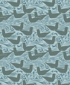 SEAGULLS This 1891 design by C.F.A Voysey of gulls on a rolling sea conjures the sounds of the surf, shore birds, and bracing salt spray off...