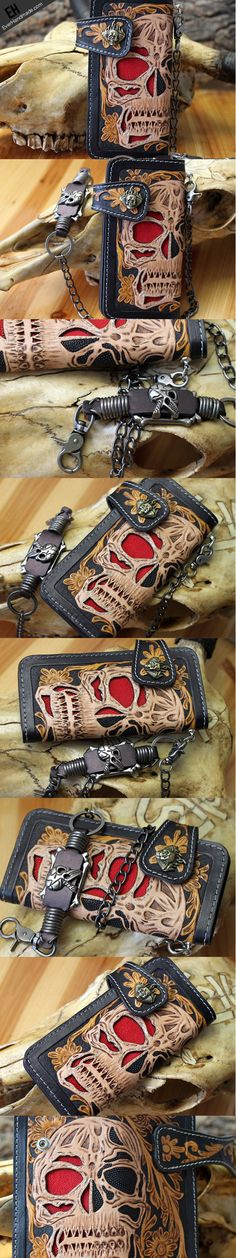 Handmade leather skull punk carved biker wallet chian Long wallet clut | EverHandmade