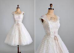 1950s Prom Dress. White chiffon. Etsy