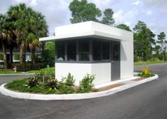 Guard Booths With Restrooms - Guard Booth - Guard Booths, Security Booths, Prefab Guard Shack, Entrance Gates, House Entrance, Contemporary Architecture, Architecture Design, Gate Design, House Design, Small Store Design, Villas, Guard House