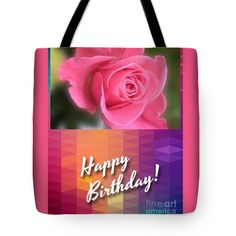 "Pink Rose Birthday Greeting Tote Bag 18"" x 18"""