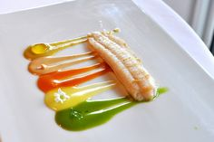 El Cellar De Can Roca: flaky sole fillet paired with five olive oil emulsions including (starting from the top) green olive, pinenuts, orange, bergamont, and fennel