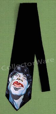 ROLLING STONES Mick Jagger cartoon 1 CUSTOM ART UNIQUE TIE   Each necktie is individually hand-painted, a true and unique work of art indeed!  To order this, or design your own custom tie, please contact us at info@collectorware.com, or visit http://www.collectorware.com/neckties-Stones_andrelated.htm