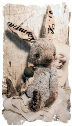 Old Blue Hare Rabbit - A Chubbi Bunni Desgin by me - Whendi's Bears