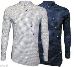Camicia-Uomo-Manica-Lunga-Collo-Coreana-Fantasia-Pois-Slim-Fit-S-M-L-XL-GIOSAL
