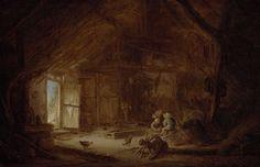 Isaac van Ostade | Interior of a Stable with three Children, Isaac van Ostade, 1642 | In een vervallen en rommelig stalinterieur spelen drie kinderen. Links in het beeld is een openstaande deur te zien waardoor een helder licht het verder donkere interieur binnenvalt. Op de voorgrond een gebroken karrenwiel en enkele kippen.