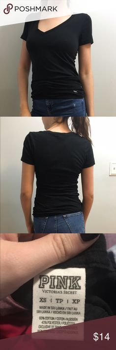 BOGO 50% Black Vneck Tshirt SALE!! EVERYTHING in my shop will be Buy One Get One HALF OFF until MONDAY!! The lesser valued item will recieve the discount make a bundle and i will give you the sale price for it!!   Black cotton vneck tshirt from Victoria's Secret PINK with embroidered dog emblem on bottom hem.  ***   ***   ***   ***   *** • NO SWAPS • Please message me with any and all inquiries • MAKE ME AN OFFER! Please no lowballing.  • Discounts on bundles! • Smoke-free house • No returns…