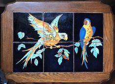 vintage california tile-top table with PARROTS Tile Top Tables, Vintage California, Parrots, Art Decor, Spanish, Moose Art, Free Shipping, Antiques, Painting
