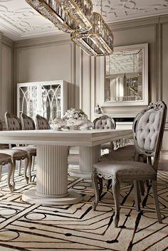 Italian Designer High End Dining Table And Chair Set - Juliettes Interiors Classic Living Room, Classic House, Luxury Dining Tables, Dining Chairs, Dining Room, Luxury Home Decor, Luxury Homes, Lobby Interior, Interior Design