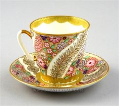 Picture of Black Lace Cup & Saucer.  Imperial Porcelain Factory.Russia.