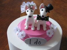 Handmade  clay english BULL Terrier Dog Wedding Cake Topper, Anniversary, Bridal, vow renewal, shower Bullys. $90,00, via Etsy.