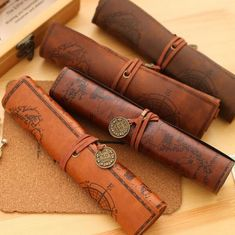 2017 Plush Vintage Faux Leather Roll Pencil Case Doll Fabric Large Bag Make Up Holder For Kids Student Stationery Boys Girl Gift Pencil Case Pouch, Leather Pencil Case, Leather Pouch, Pencil Holder, Leather Bags, Leather Roll, Leather Craft, Leather Factory, Treasure Maps