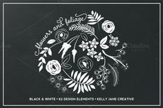 Black & White Flowers & Foliage by Kelly Jane Creative on Creative Market