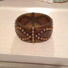 Cuff bracelet Green and gold cuff bracelet Jewelry Bracelets