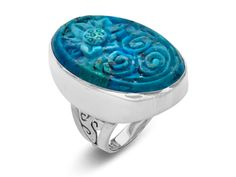 Sajen Carved Turquoise Flower Ring in Sterling Silver