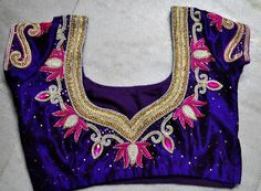 Stone work blouse back design