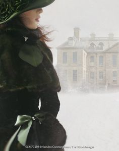 Sandra Cunningham VICTORIAN WOMAN OUTSIDE MANOR IN SNOW Women