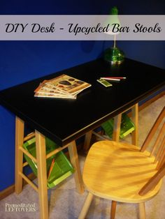 Diy Desk - Upcycled Bar Stools