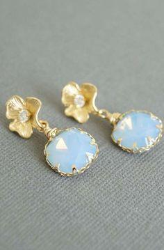 Floral Stud Earrings, Air Blue Gold Flower Drop