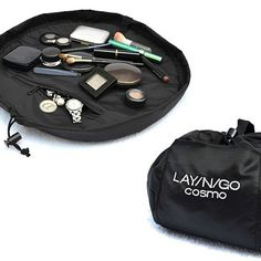 Check out the Lay-n-Go COSMO cosmetic bag, it converts into an easily transportable handled clutch allowing for quick and effortless clean-up of your cosmetics. No more dumping your collection onto a towel or having to worry about your cosmetics rolling off the counter and onto the floor.