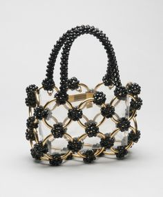 Handbags Woman's Bag - Label Bergdorf Goodman, New York - Made in Italy Clear plastic, black plastic beads, gold metal - Source by bag black Vintage Purses, Vintage Bags, Vintage Handbags, Fashion Handbags, Purses And Handbags, Fashion Bags, Fashion Fashion, Beaded Purses, Beaded Bags