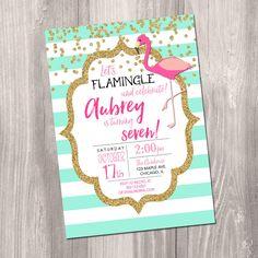 Flamingo Birthday Invitation, Flamingo invitation, let's flamingle invitation, flamingo birthday party, digital, Printable Invitation by StyleswithCharm on Etsy https://www.etsy.com/listing/468938933/flamingo-birthday-invitation-flamingo