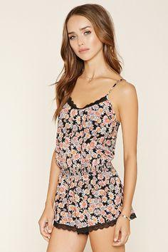 Floral Lace-Trim Romper