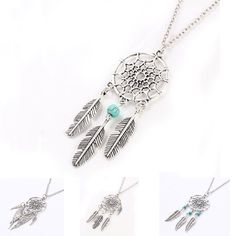 Ancient Silver Plated Alloy Girl Chian necklaces For Women Vintage Korea Dream Catcher Leaves Pendant Necklace  Jewelry collares