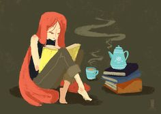 style variation of tea and books